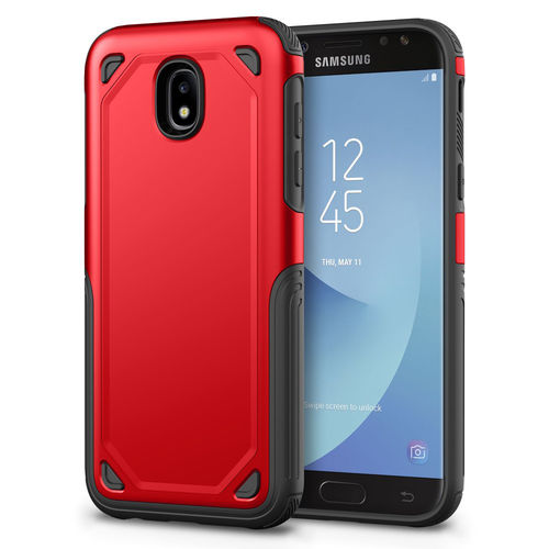 Hybrid Guard Shockproof Plate Case for Samsung Galaxy J5 Pro - Red